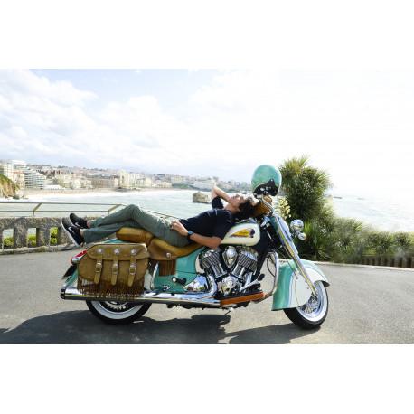 Jean-Luc Lahaye sur sa moto.